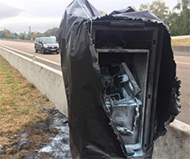 Burned French speed camera in Reims