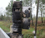 Burned speed camera in France