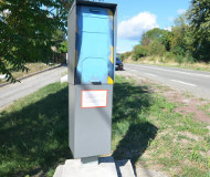 Blue spraypainted speed camera