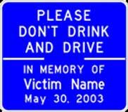 DUI memorial sign