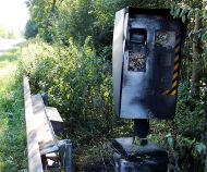 Speed camera in France set on fire