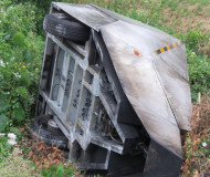Toppled speed camera