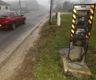 Burned out speed camera, France