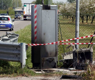 Italian speed camera burned