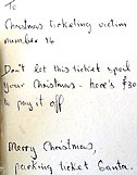 Parking ticket Santa note