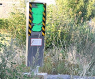 Green spraypaint speed camera