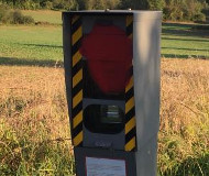 Spraypainted speed camera in France