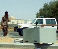 Tipped over Saudi speed camera
