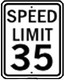 35 MPH speed limit sign