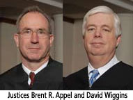Justice Brent R. Appel and David Wiggins