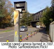 London speed camera burned in 2007