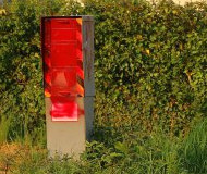 Red spraypainted speed camera