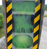 Speed camera in France painted green
