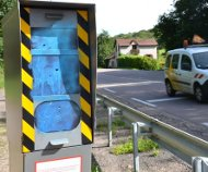 French speed camera painted blue