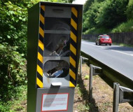 Smashed French speed camera