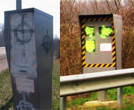 French speed cameras painted
