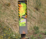 Neon painted French speed camera