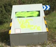 Green painted speed camera in France