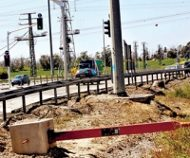 Uprooted Israeli speed camera