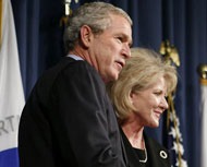 President Bush with Transportation Secretary Mary Peters