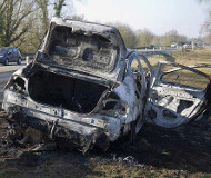 French speed camera car burned