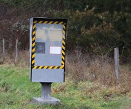 Spraypainted gray speed camera