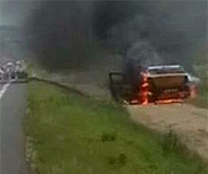 Romanian speed camera car burns