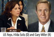 Reps. Hilda Solis and Gary Miller