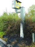 Destroyed speed camera