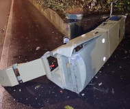 Toppled Swiss speed camera
